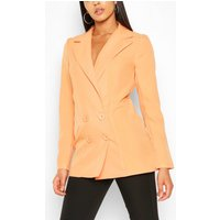 Womens Tall Double Breasted Woven Blazer - Orange - 8, Orange