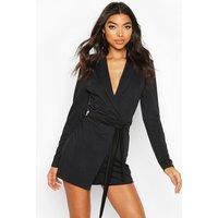 Womens Tall Belted Blazer Playsuit - black - 6, Black