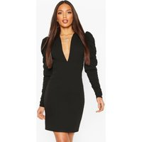 Womens Tall Ruched Puff Sleeve Mini Dress - Black - 16, Black
