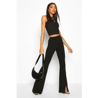 Womens Tall Split Front Tailored Flares - Black - 12, Black