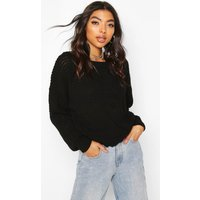 Womens Tall Slash Neck Crop Jumper - Black - L, Black