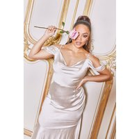 Womens Tall Off Shoulder Satin Maxi Dress - Pink - 8, Pink