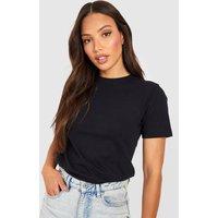 Womens Tall Round Neck Cotton T-Shirt - Black - 6, Black