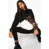 Womens Tall Leopard Colour Block Sweat - black - 14, Black