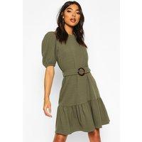 Womens Tall Belted Frill Hem Shift Dress - green - 12, Green