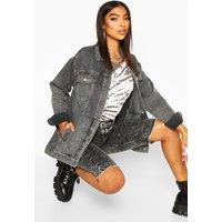 Womens Tall Washed Oversized Denim Jacket - grey - 14, Grey