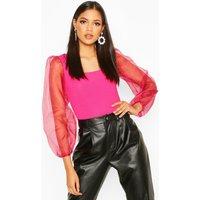 Womens Tall Rib & Organza Mesh Bodysuit - pink - 16, Pink