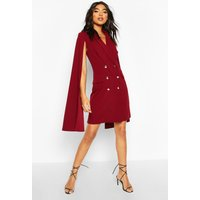 Womens Tall Double Breasted Cape Blazer Dress - red - 14, Red