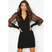 Womens Tall Mesh Sleeve Bodycon Dress - black - 14, Black