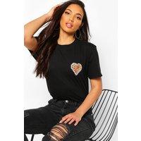 Womens Tall Leopard Heart Pocket Print T-Shirt - Black - Xl, Black