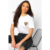 Womens Tall Leopard Heart Pocket Print T-Shirt - White - M, White