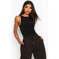 Womens Tall Double Layer Slinky Racer Neck Bodysuit - Black - 8, Black
