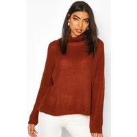 Womens Tall Soft Knit Roll Neck Jumper - brown - L, Brown