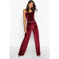 Womens Tall Rib Velvet Wide Leg Trousers - Red - 6, Red