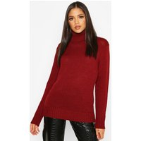 Womens Tall Roll Neck Soft Knit Jumper - red - M, Red