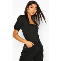 Womens Tall Rib Knit Puff Sleeve Bodysuit - black - 8, Black