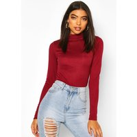 Womens Tall Rib Knit High Neck Bodysuit - Red - 12, Red