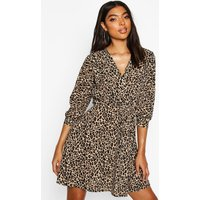 Womens Tall Leopard Print Wrap Dress - multi - 18, Multi