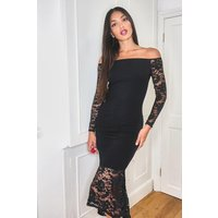 Womens Tall Off the Shoulder Lace Midi Dress - black - 12, Black