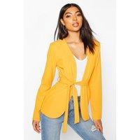 Womens Tall Belted Blazer - yellow - 14, Yellow