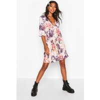 Womens Tall Ditsy Floral Ruffle Smock Dress - pink - 12, Pink