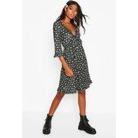 Womens Tall Ruffle Plunge Floral Smock Dress - black - 14, Black