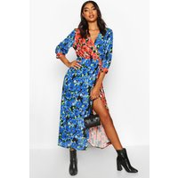 Womens Tall Mixed Floral Wrap Midi Dress - red - 6, Red