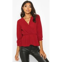 Womens Tall Wrap Peplum Blouse - Red - 14, Red