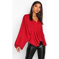 Womens Tall Kimono Sleeve Peplum Blouse - red - 6, Red