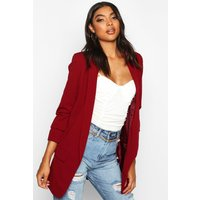 Womens Tall Ruched Sleeve Blazer - red - 10, Red