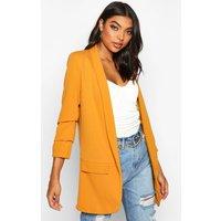 Womens Tall Ruched Sleeve Blazer - yellow - 6, Yellow