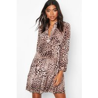 Womens Tall Leopard Print Tiered Smock Dress - multi - 6, Multi