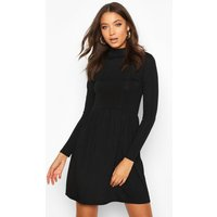 Womens Tall Rib High Neck Smock Dress - black - 10, Black