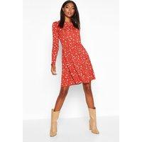 Womens Tall Ditsy Floral Smock Dress - orange - 8, Orange