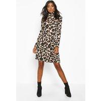 Womens Tall Roll Neck Leopard Print Smock Dress - multi - 6, Multi