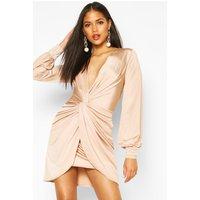 Womens Tall Wrap Front Slinky Dress - Beige - 14, Beige