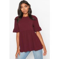 Womens Tall Rib Smock Top - red - 12, Red