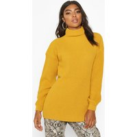 Womens Tall Funnel Neck Knitted Jumper - yellow - M/L, Yellow