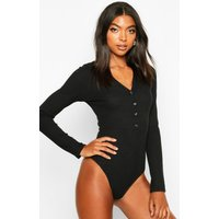 Womens Tall Plunge Button Front Long Sleeved Bodysuit - black - 16, Black