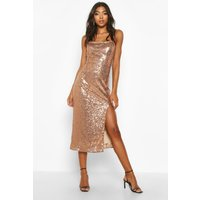 Womens Tall Thigh Split Sequin Midi Dress - metallics - 14, Metallics