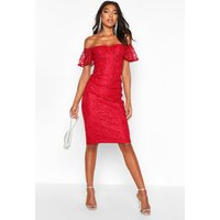 Womens Tall Off The Shoulder Lace Midi Dress - red - 10, Red
