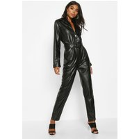 Womens Tall Leather Look Boilersuit - black - 6, Black