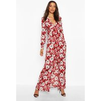 Womens Tall Floral Print Maxi Dress - red - 6, Red