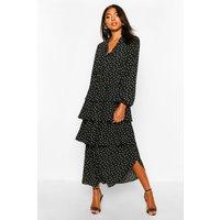 Womens Tall Polka Dot Ruffle Skirt Midi Dress - black - 16, Black