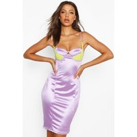 Womens Tall Lace Contrast Bodice Stretch Satin Midi Dress - purple - 8, Purple