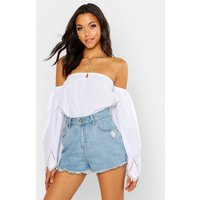 Womens Tall Broderie Trim Flare Sleeve Top - white - 12, White