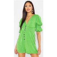 Womens Tall Puff Sleeve Button Front Playsuit - green - 12, Green
