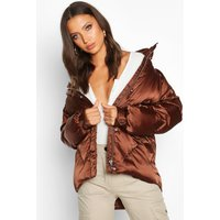 Womens Tall Satin Padded Jacket - brown - 10, Brown