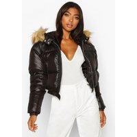 Womens Tall Faux Fur Hooded Crop Padded Coat - black - 12, Black