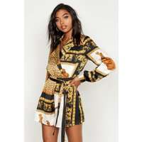 Womens Tall Scarf Print Wrap Playsuit - black - 12, Black